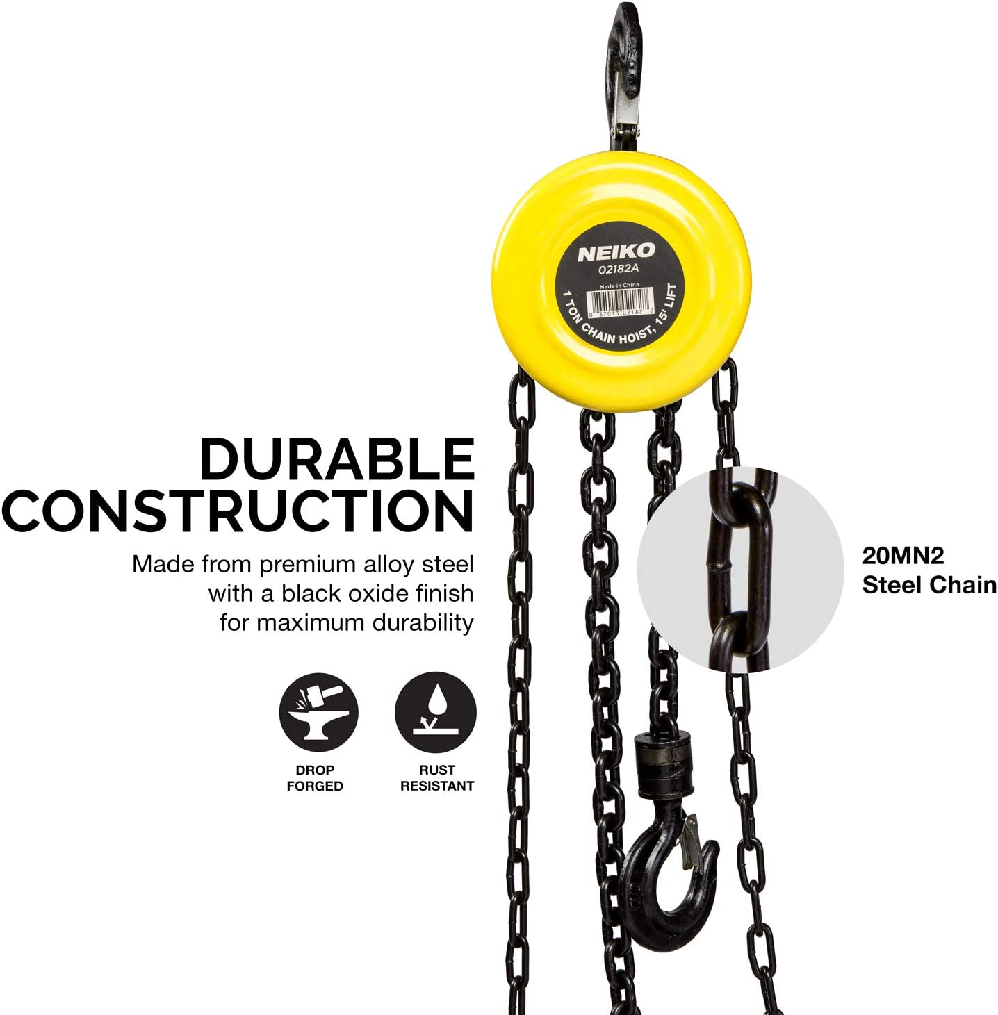 1 Ton CapacityManual Hand Chain Block 20 Foot Neiko Chain Hoist with 2 Hooks