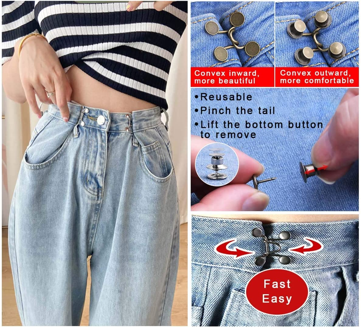 Premium 4 Pairs Adjustable Waist Buckle Extender Set Jeans Extender Waist Extender Button for Pants Jeans 24pcs Upgraded Adjustable Nail-Free Waist Buckles Golden Reuseable Jean Buttons