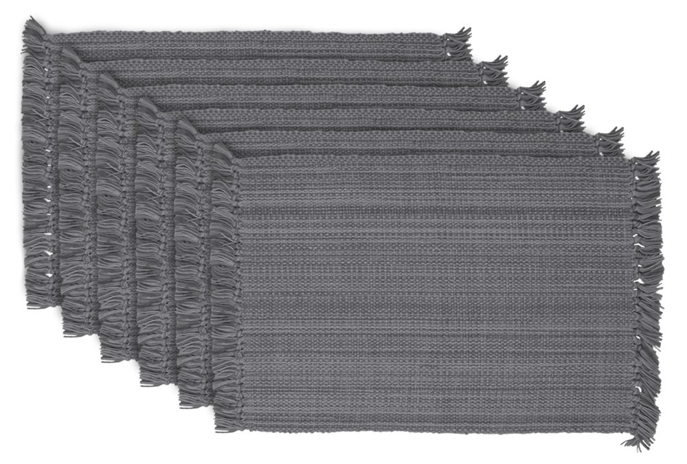 DII Tonal Fringe Placemat, Set of 6, Variegated Gray - Perfect for Fall, Thanksgiving, Dinner Parties, Weddings and Everyday Use by DII