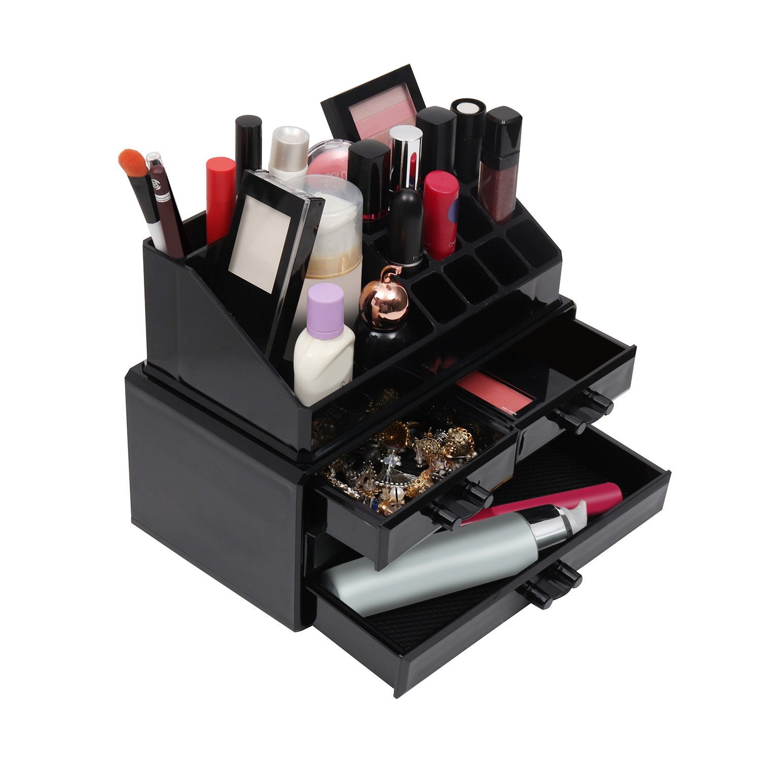 Kurtzy Makeup Organiser Storage Box - Clear Black Acrylic Jewellery Storage Box with 20 sections - 16 Cosmetic Holder and 4 drawers by Perfect for Eyeshadow, Brushes, Lipstick, Nail Varnish & More JT-1513