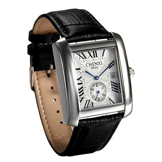 dc9b4794a8d6 JewelryWe Lujo Cuadrado no empotrado segundo dial Japón reloj de cuarzo  Auto Fecha Reloj de pulsera