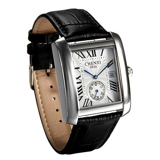 JewelryWe Reloj Blanco para Hombre Relojes de Caballero, Reloj Cuadrado Retro Vintage Original, Cuarzo Reloj con Calendario de Estilo Buen Regalo 2017: ...