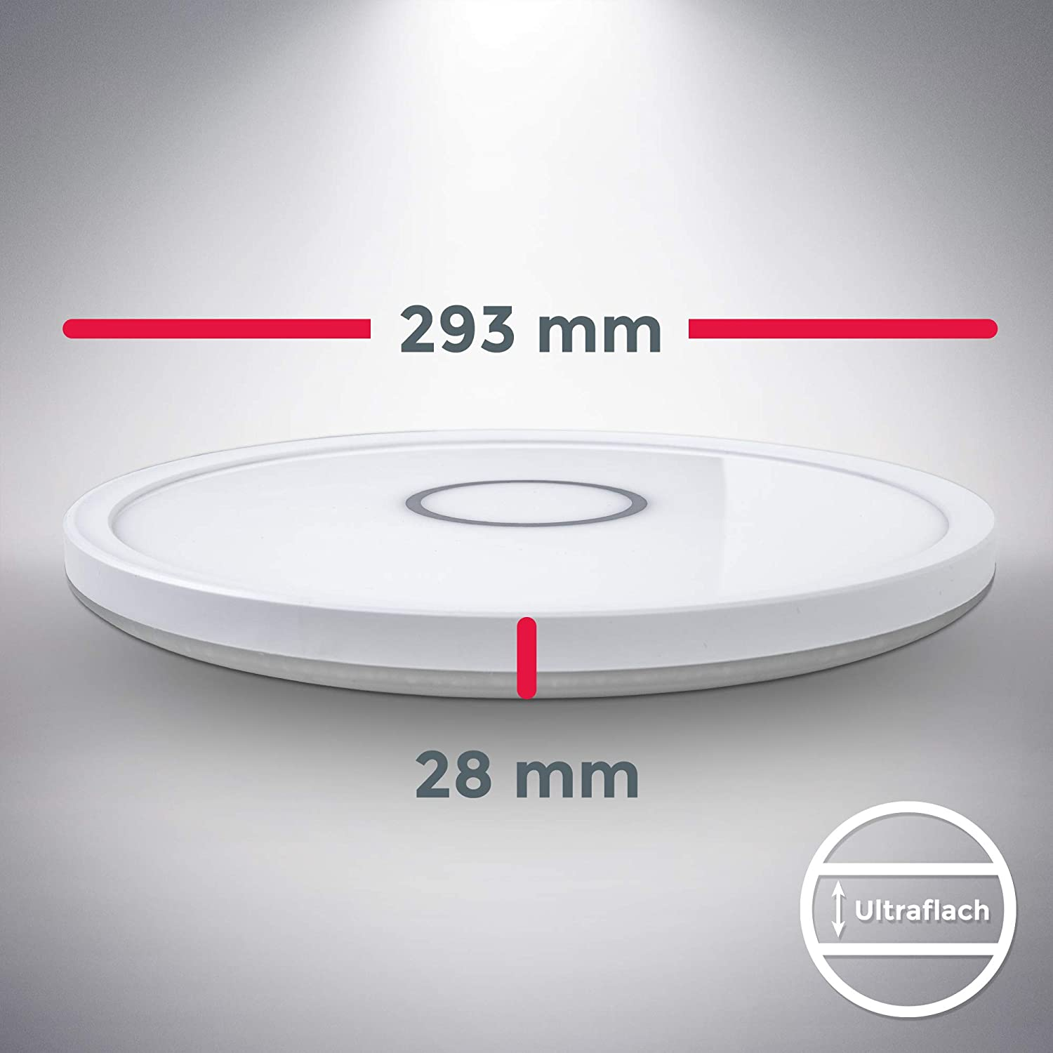 Bedroom Height 1.1in 4000K Natural White 2400Lm /Ø11.53in Ultra-Thin Modern Light Fitting for Office Kitchen IP20 Flush Mount Dining Room B.K.Licht LED Ceiling Light Built-in 18W LED Board