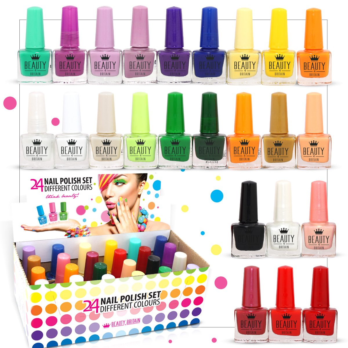 24 x NAIL POLISH VARNISH (SET B) 24 DIFFERENT COLOURS THE BEST GIFT UK Beauty4Britain