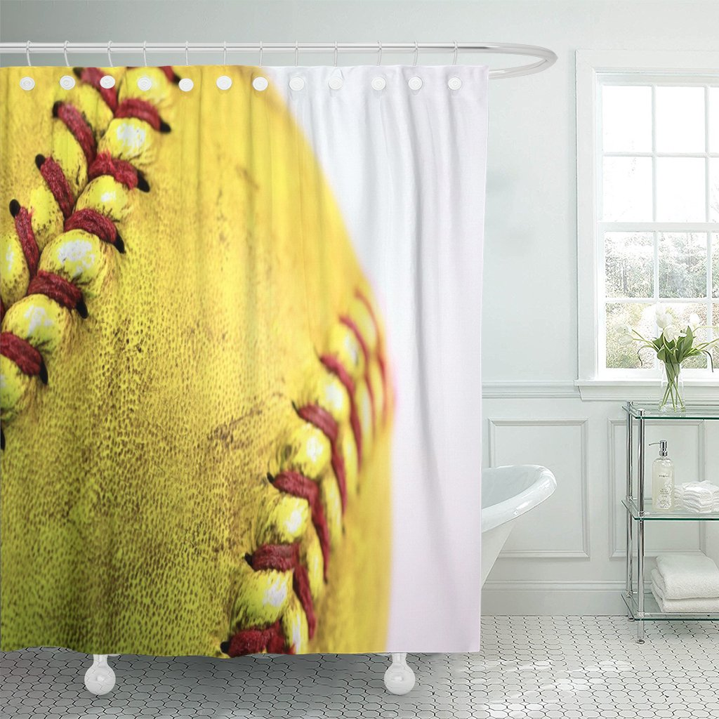 Emvency Fabric Shower Curtain Curtains with Hooks White American Yellow Softball Closeup with Red Seams Ball Baseball Detail Dirty Equipment Field Game 72''X84'' Waterproof Decorative Bathroom