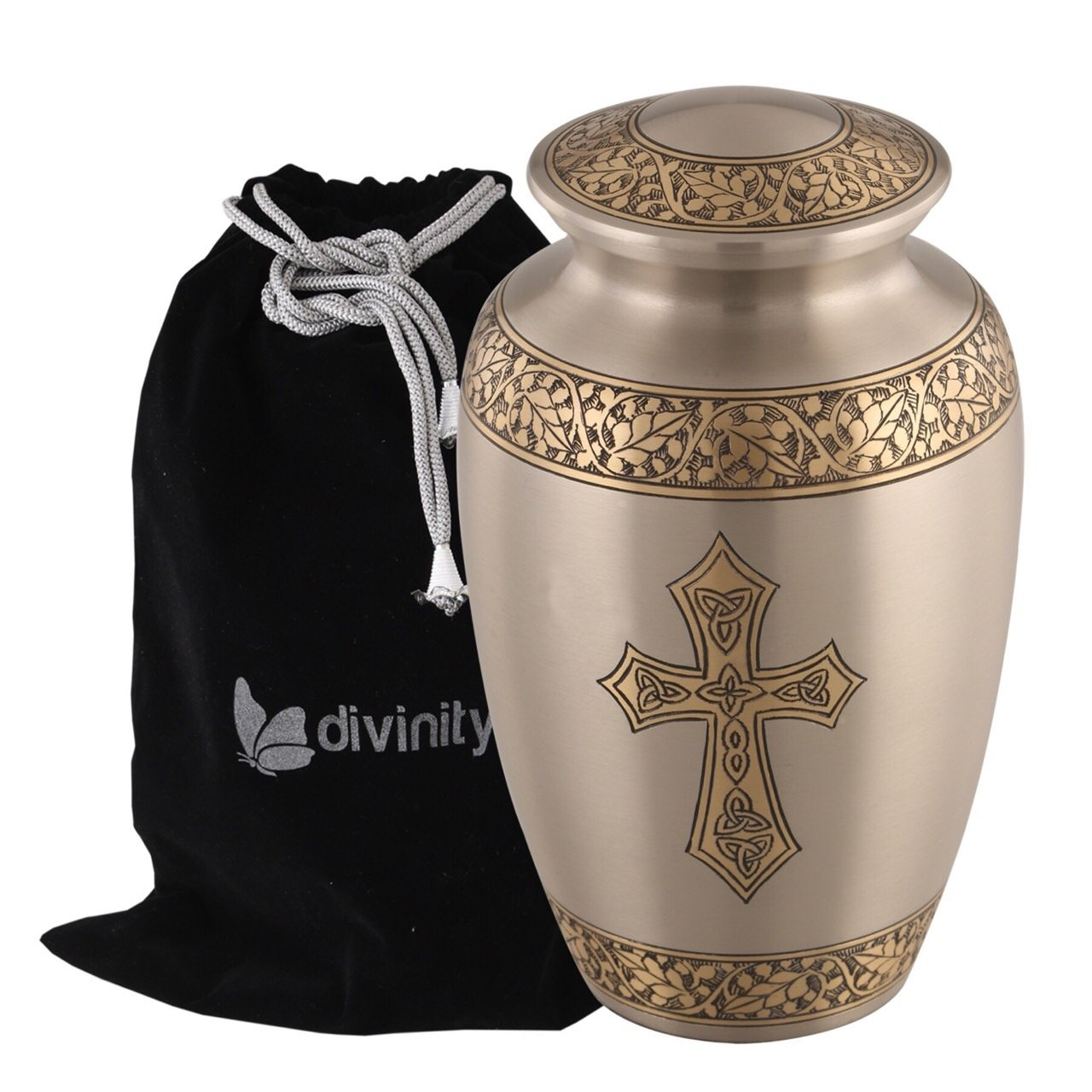 Blessings of Christ Platinum & Gold Cross Urn - Platinum Elegance Trinity Cross Urn - Religious Cremation Urn - Handcrafted Adult Religious Funeral Urn - Large Urn Deal