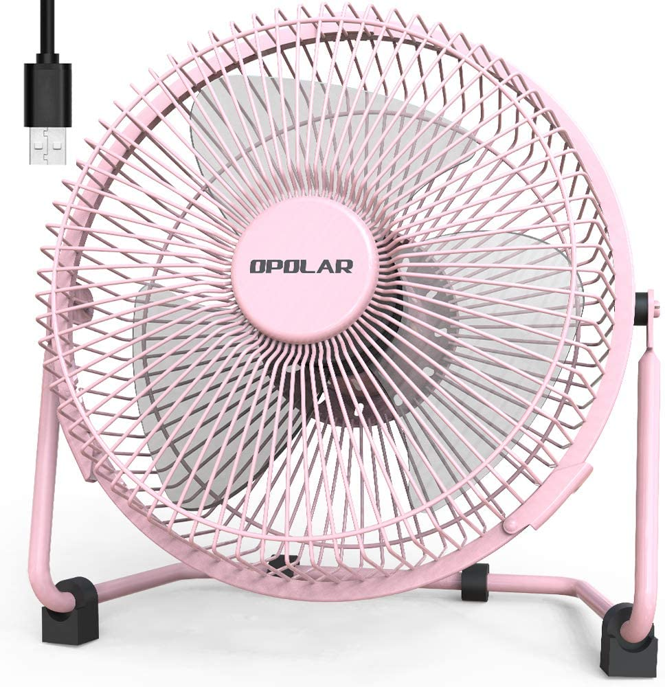 OPOLAR 9 Inch USB Desk Fan, USB Powered ONLY, Enhanced Airflow, Lower Noise, Two Speeds, Perfect Personal Cooling Fan for Home Office Desk-Pink