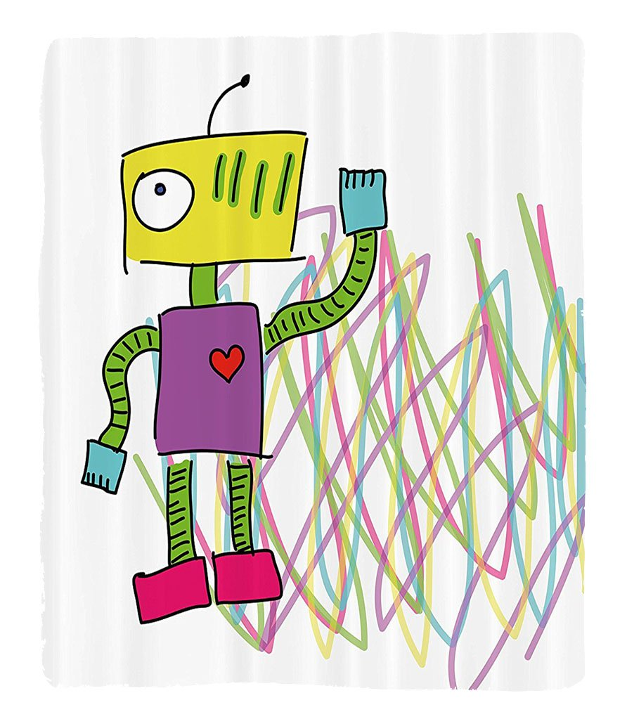 Chaoran 1 Fleece Blanket on Amazon Super Silky Soft All Season Super Plush Robot with Lets Dance Quote Electric Friendly Cyborg Character Print Kids Doodletyle Fabric Extra