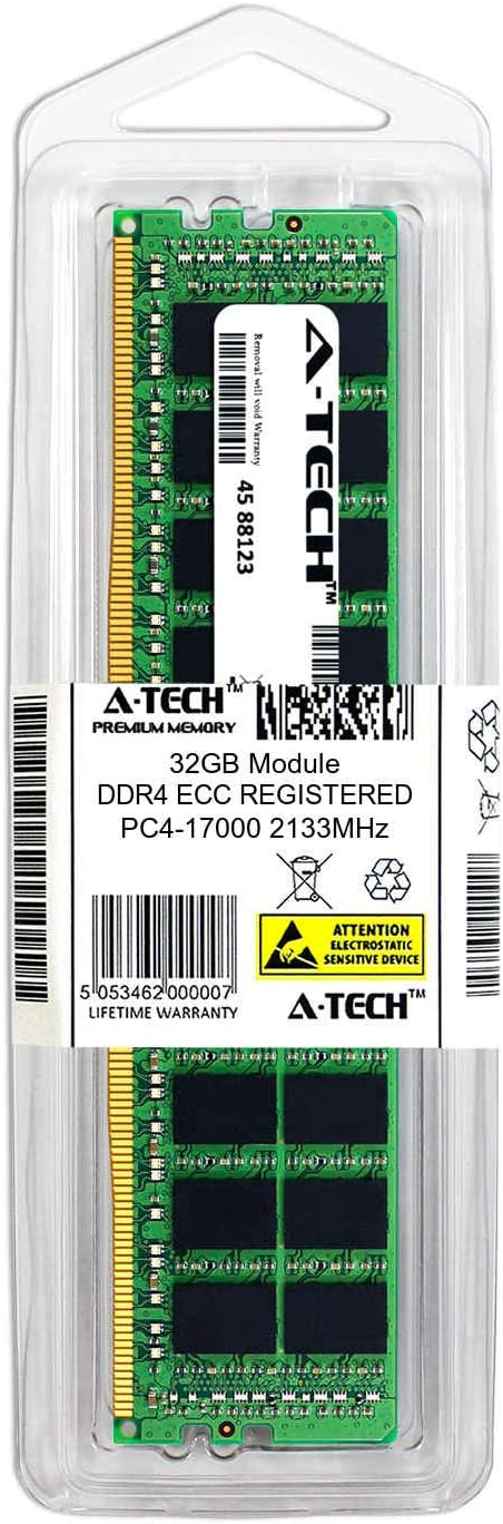 MTA36ASF4G72PZ-2G1-ATC Single Server Memory Ram Stick DDR4 2133MHz PC4-17000 ECC Registered RDIMM 2rx4 1.2v A-Tech 32GB Replacement for Micron MTA36ASF4G72PZ-2G1