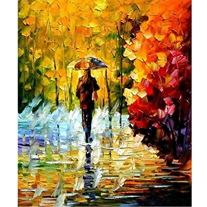 Sunding Art Modern Abstract Painting Hand Painted Oil Painting Landscape Wall Artwork Wolking In The Rain Landscape On Canvas Modern Wooden Framed For