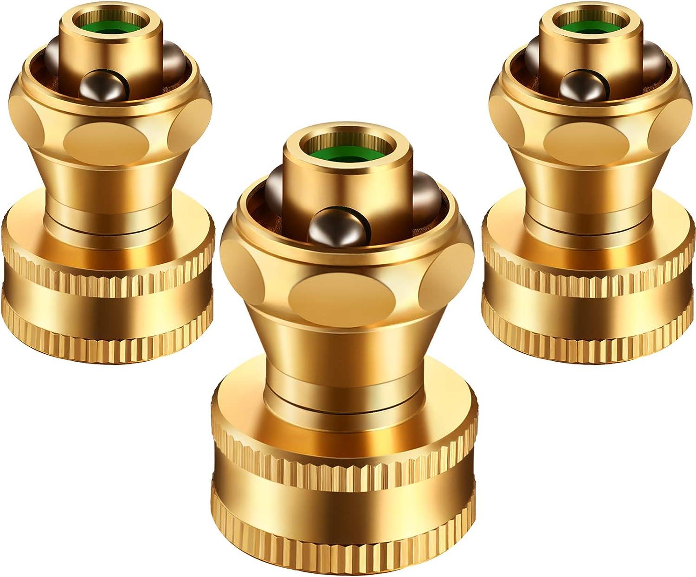 3 Pack Brass Nozzle Power Brass Nozzle Hose Nozzle, Adjustable Twist Sprayer for Garden