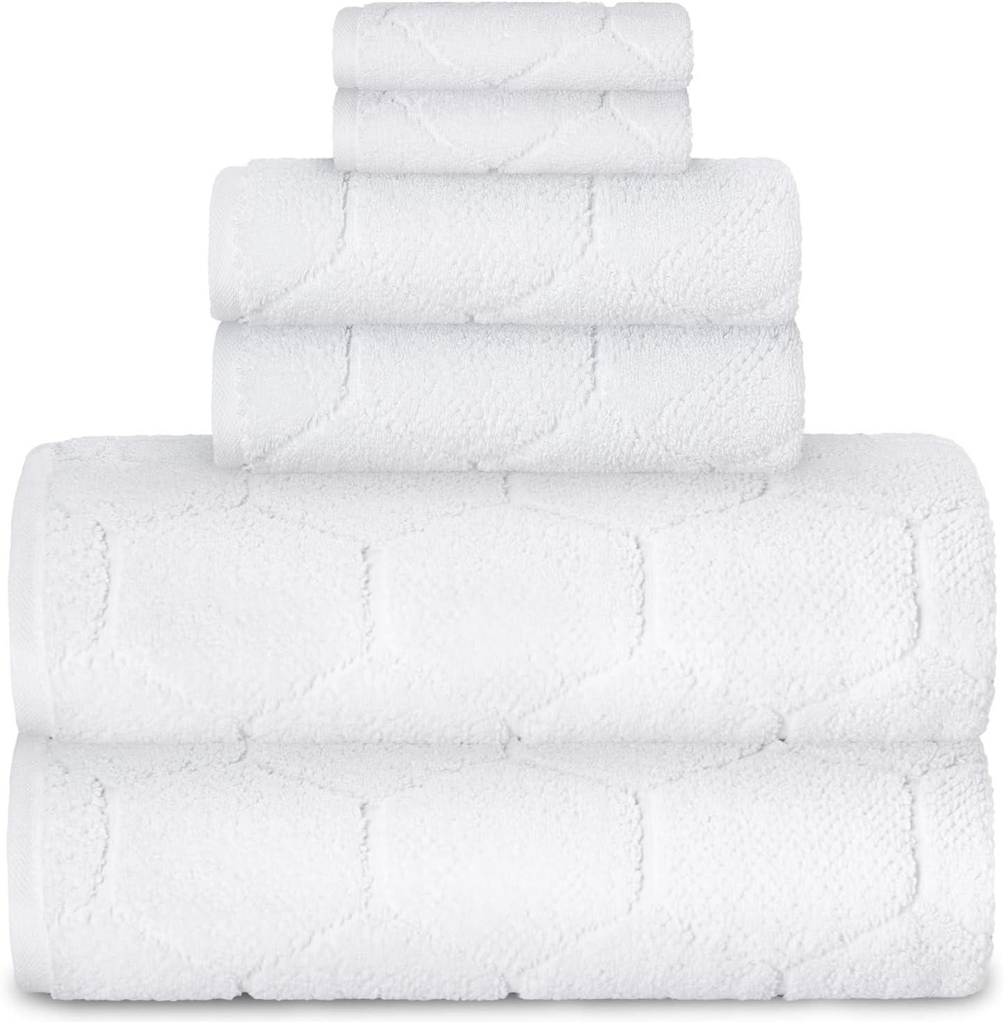 AROW9 - 6 Piece Luxury Towel Set 750 GSM 100% Turkish Cotton – Hand, Wash & Bath - Premium Quality Decorative & Soft - Fancy Home Guest Bathroom & Spa Towels - Elegant Mod Lux Design - White