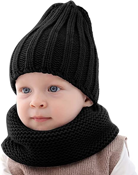 2PCS Baby Toddler Boy Beanie With Scarf Pure Cotton Comfy Cap Hat Gift 0-18M