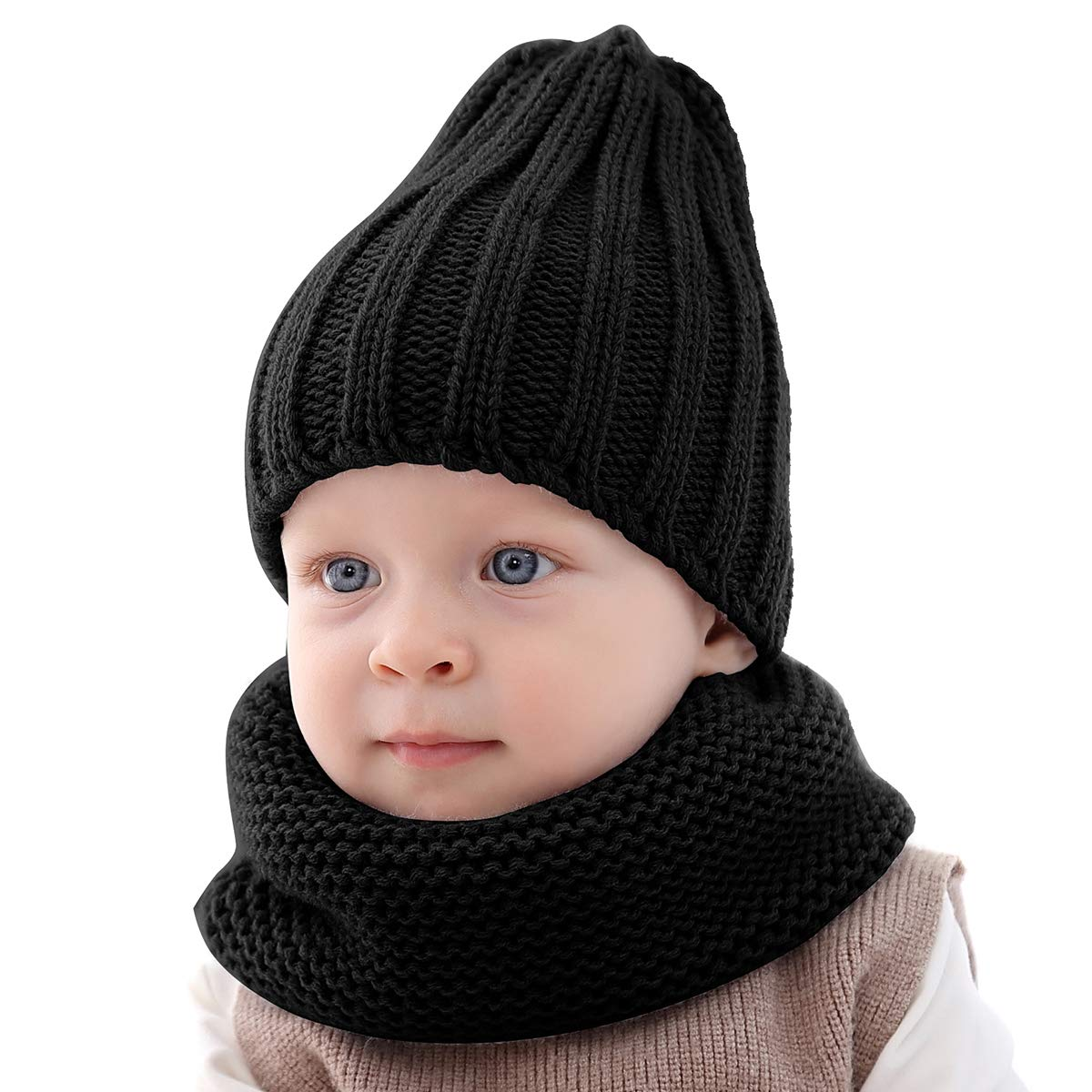 Yinuoday Toddler Baby Winter Warm Knitted Hat Scarf Set Soft Beanie Cap Circle Scarf for Baby Boys Girls