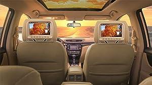 """Pair Rockville RHP7-BG 7"""" Beige Plug N Play Car Headrest Monitors w/Speakers+IR"""