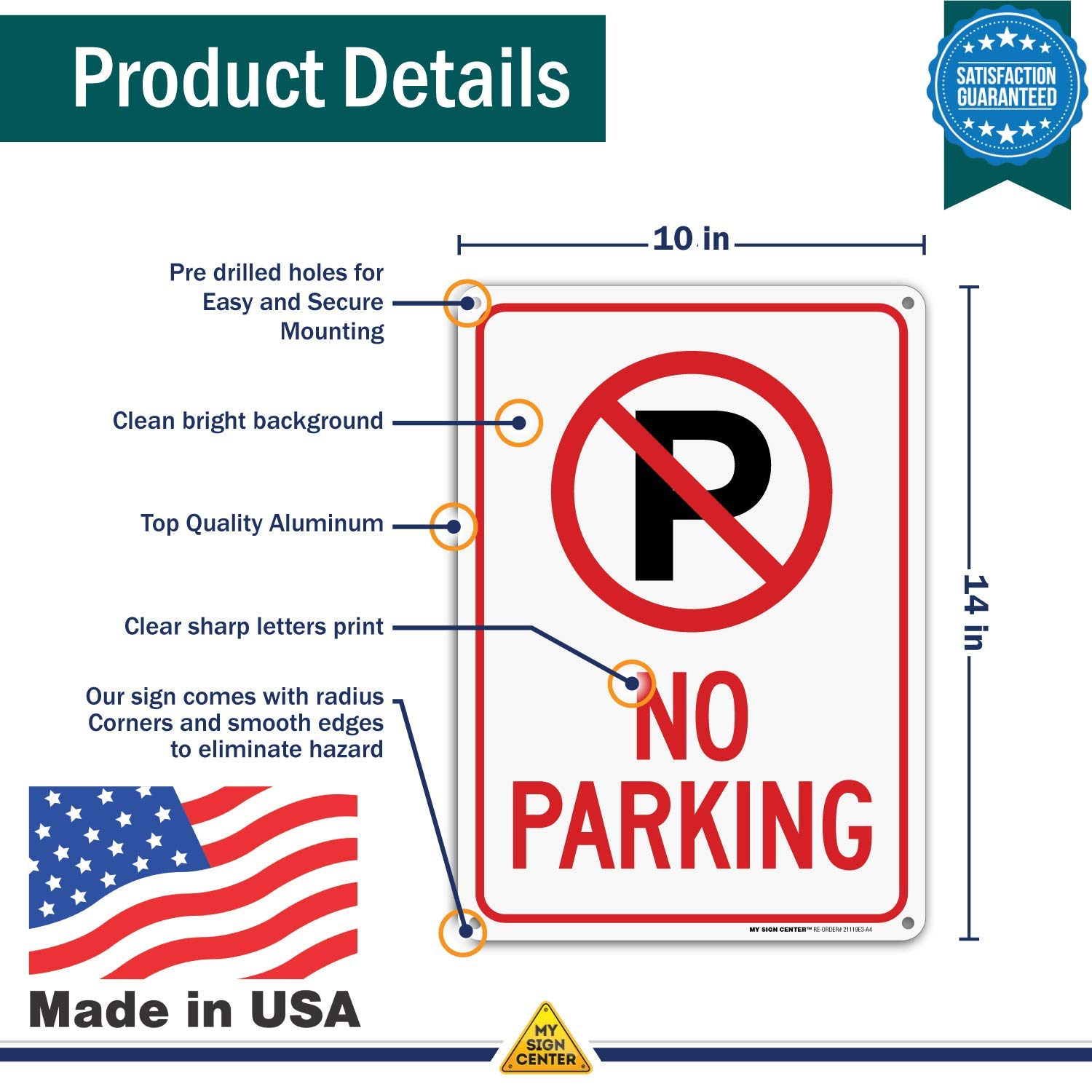 No Parking Sign by My Sign Center Outdoor Rust-Free Metal 21119E3-A4 10 x 14