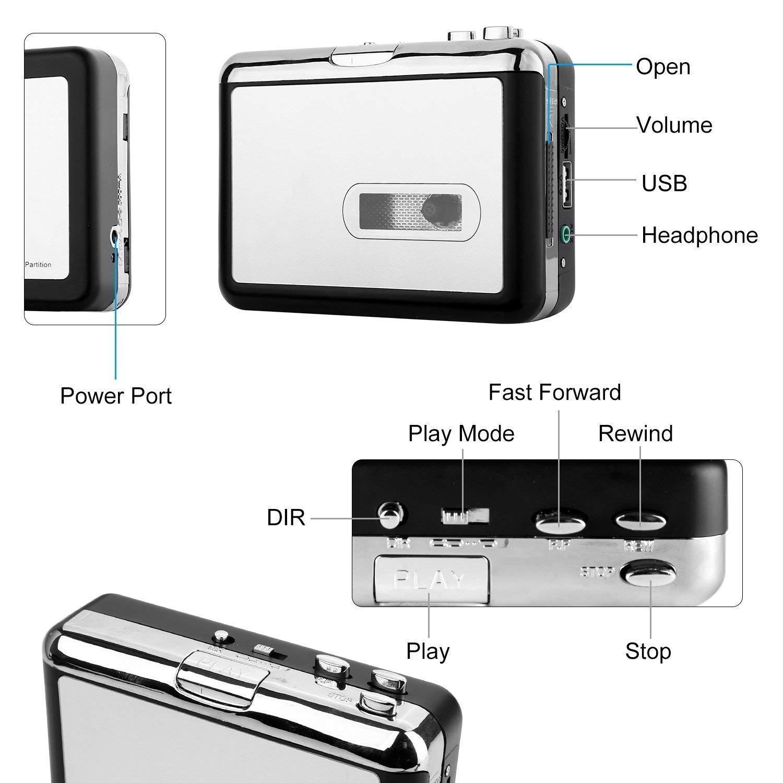 PowerLead Cassette Player Tape to MP3 Converter Reproductor de Cinta de Audio Portátil retrovisor Retro Walkman con Auriculares, sin Necesidad de ...