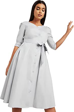 Plain Curved V Neck Tie Belt Midi Women's Dress with Button Closure