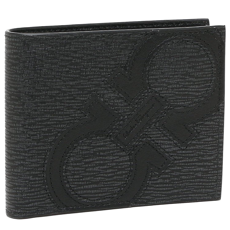 [フェラガモ]二つ折り財布 メンズ Salvatore Ferragamo 66A277 0693865 グレー ブラック [並行輸入品] B07FVKCV2L