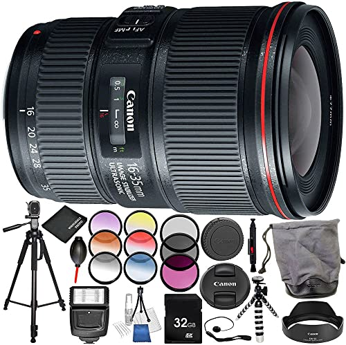 Canon EF 16-35mm f 4L IS USM Lens 16PC Accessory Bundle Includes 3 Piece Filter Kit UV CPL FLD 6PC Graduated Filter Kit MORE