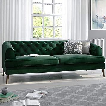 Inez Dark Green Velvet 3 Seater Chesterfield Sofa: Amazon.co ...