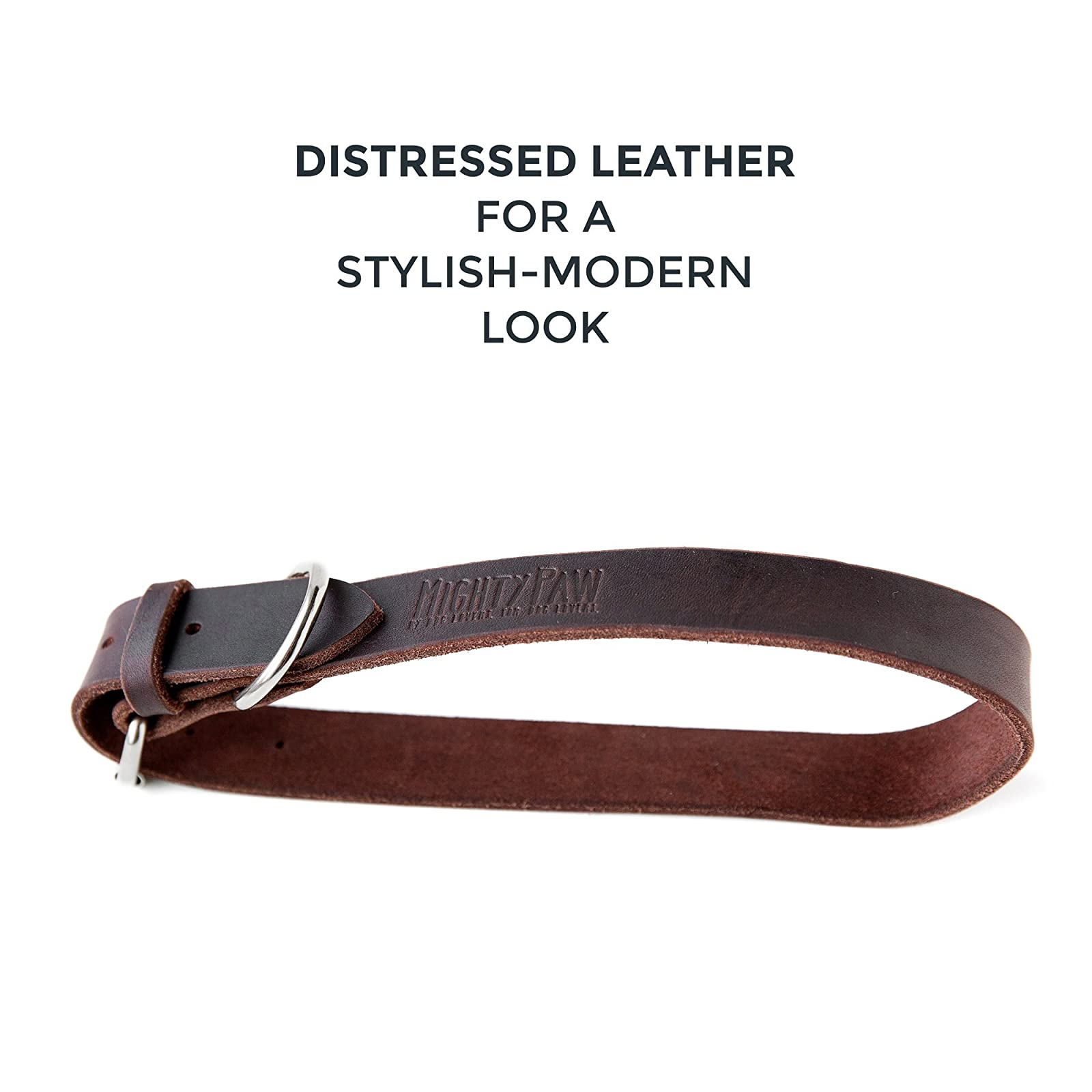 Mighty Paw Leather Dog Collar Super Soft Brown - 6