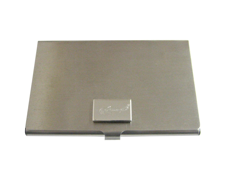 Silver Toned Etchedナマズビジネスカードホルダー   B01JQVSYLK