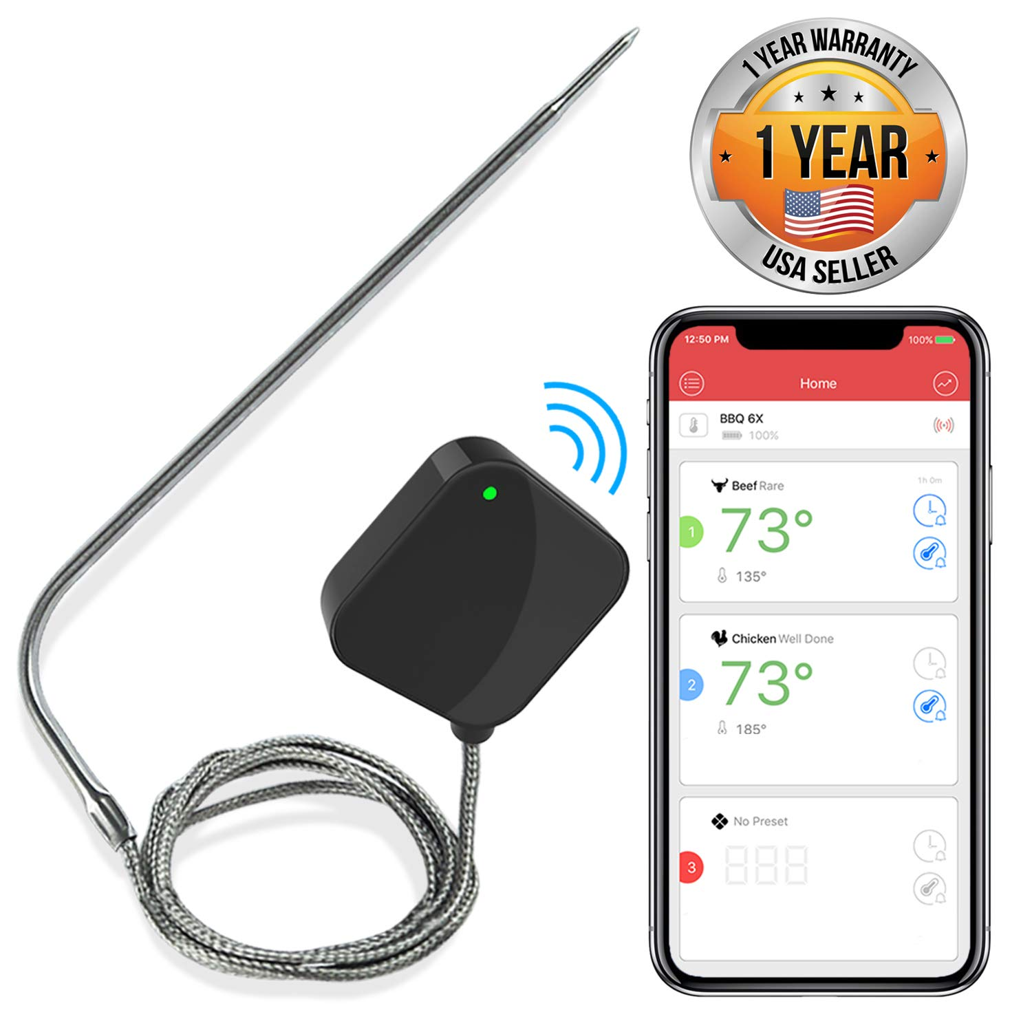 NutriChef Smart Bluetooth BBQ Thermometer - Upgraded Stainless Probe Safe to Leave in Grill, Outdoor Barbecue or Meat Smoker - Wireless Remote Alert iOS Android Phone WiFi App - PWIRBBQ40 by Nutrichef