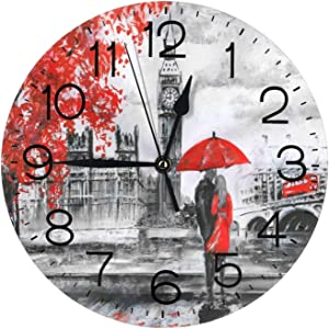"Lovers in Romantic Eiffel Tower Wall Clock 10"" Round,- Battery Operated Wall Clock Clocks for Home Decor Living Room Kitchen Bedroom Office School"