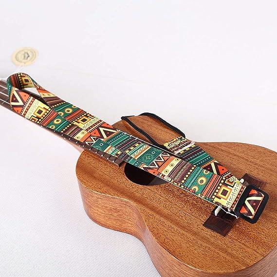Zinniaya Correa de Guitarra de Estilo /étnico Ukulele Ajustable Correa de Hombro Cuello Cintur/ón de Honda