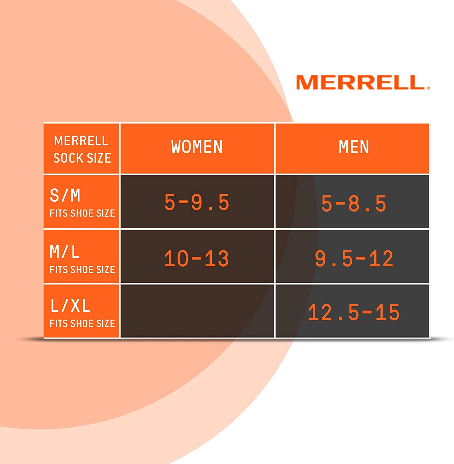merrell mens size chart graphic