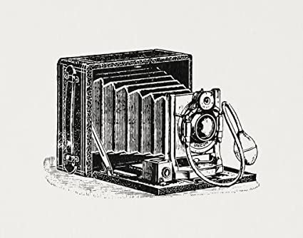 Vintage Camera Print Antique Camera Illustration Wall Art Poster or Print in a White Paper Style