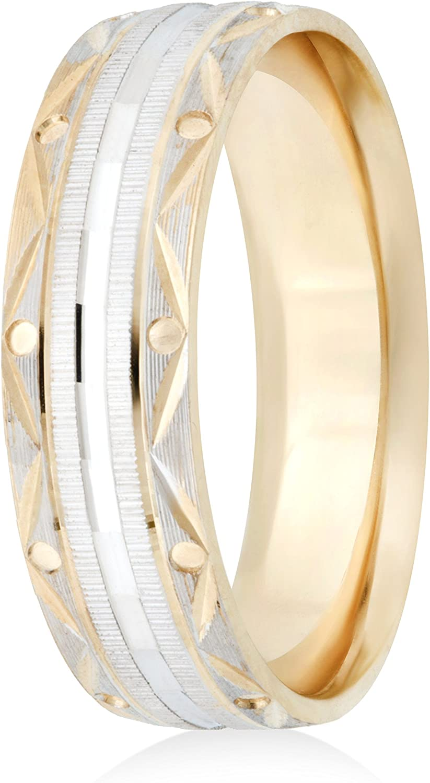 26 Jewels 14K Yellow//White Gold 6mm Design Wedding Band