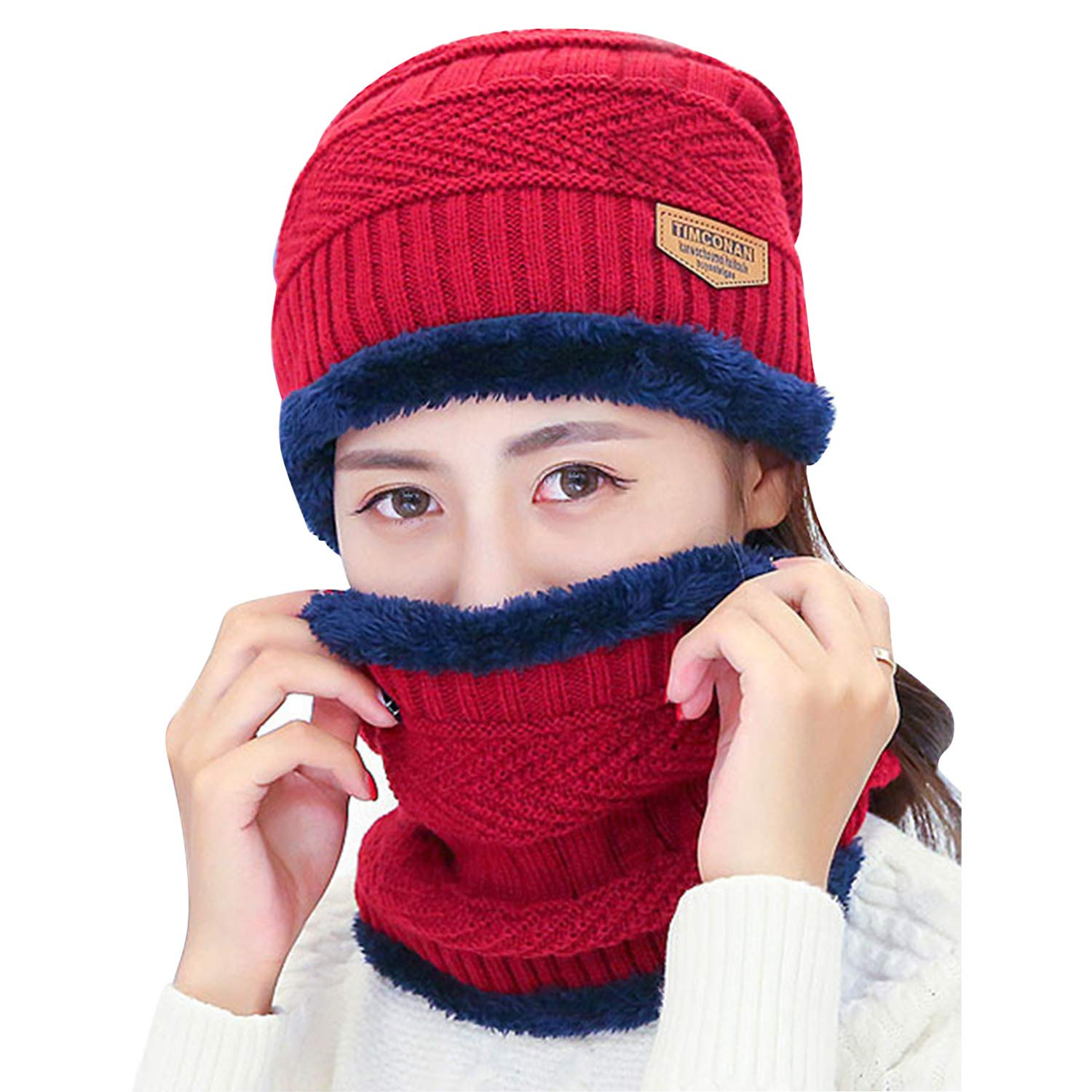 MOACC Winter Beanie Hat and Warm Scarf Set Thick Knit Skull Cap Warm Snow Ski Skull CapFleece Lined Scarf Outdoors Hat Unisex Use for Skiing Snowboarding Motorcycling Snow Climing (Red)