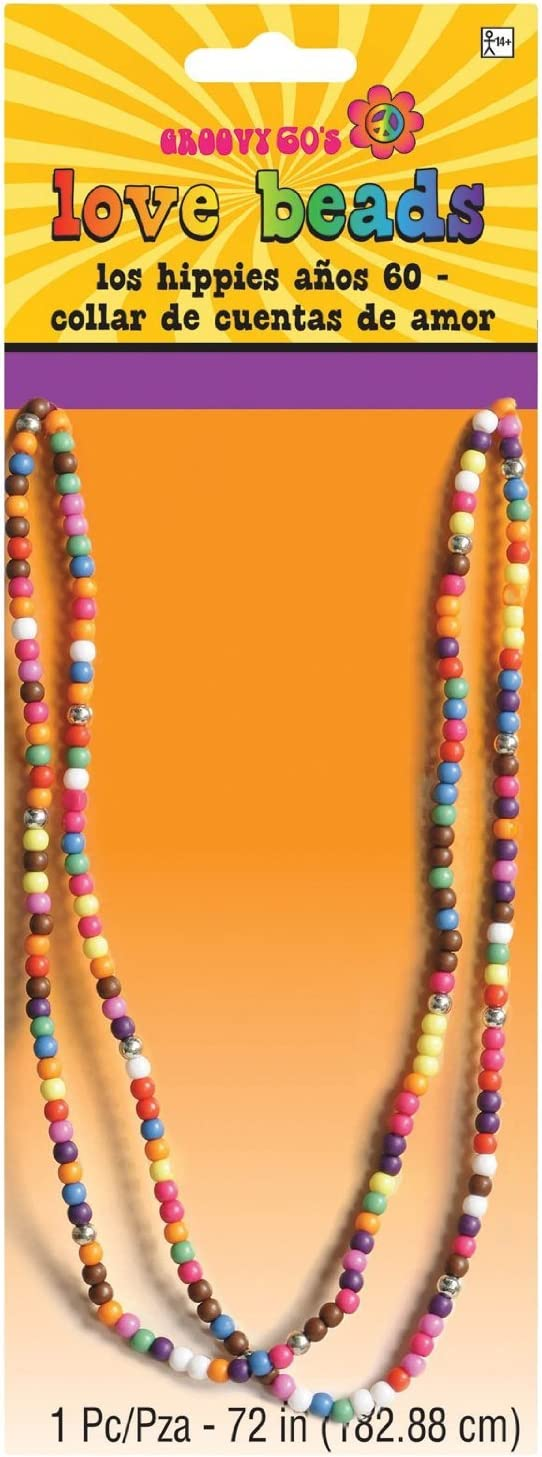 60s , 70s Hippie Clothes for Men amscan Festival Love Beads Necklace One Size Multicolor $9.76 AT vintagedancer.com