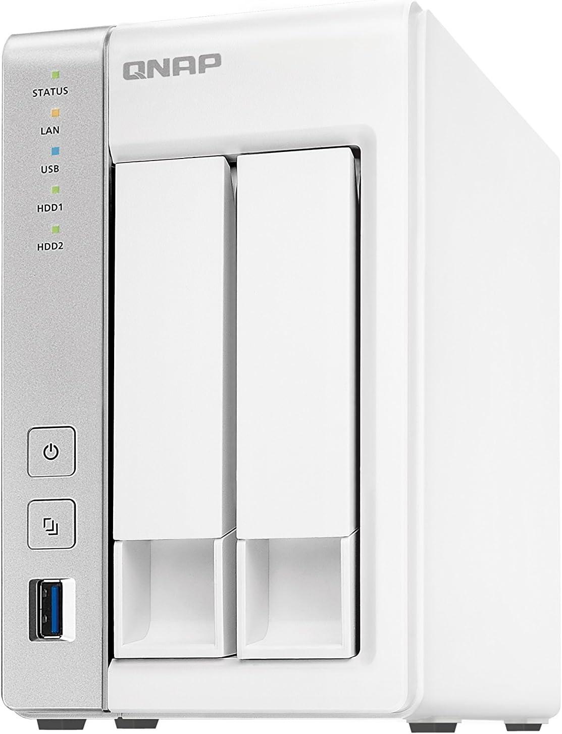 QNAP TS-231P Ethernet Torre Gris, Blanco NAS - Unidad Raid (16 TB, Unidad de Disco Duro, Unidad de Disco Duro, SSD, 8000 GB, Serial ATA II,Serial ATA III, 2.5,3.5