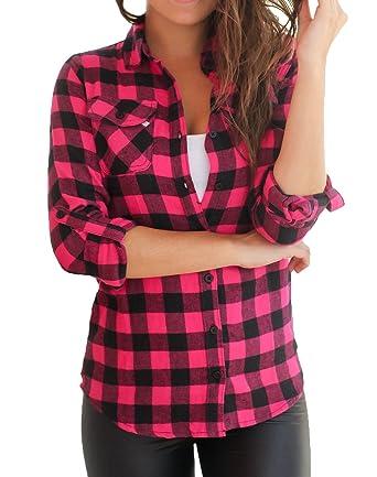 b4eb88defd ThiKin Femme Chemise à Carreaux Ecossais Col Boutonné avec Bouton Manche  Longue Blouse Shirt Chemisier Top L Rouge: Amazon.fr: Vêtements et  accessoires
