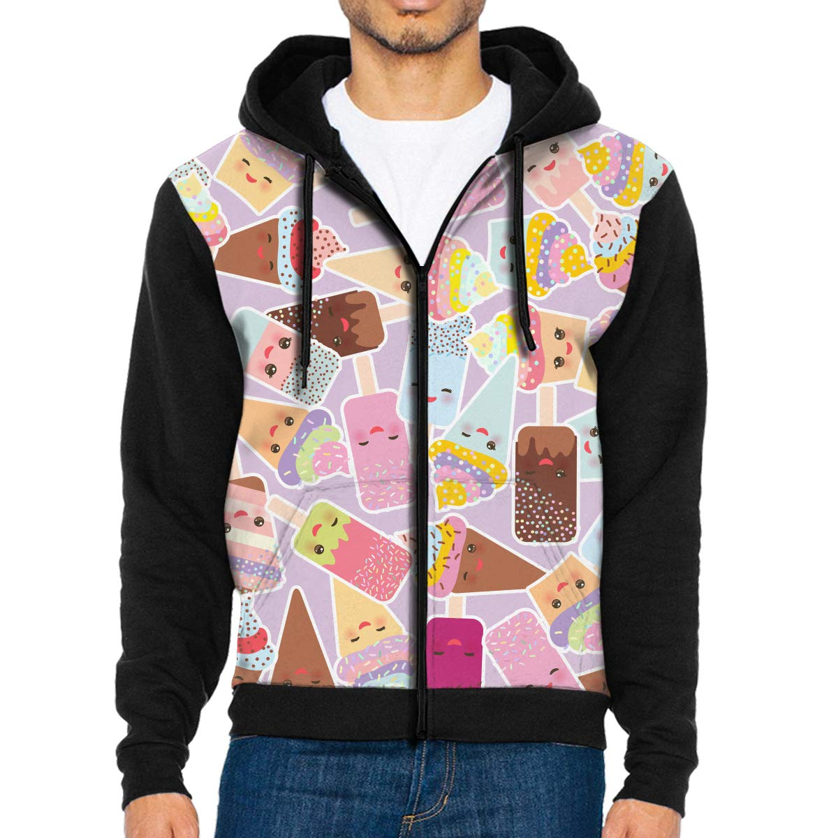 SAPOY Men's Fashion Hoodies Kawaii Cupcakes with Cream Pullover Hooded Sweatshirt by SAPOY