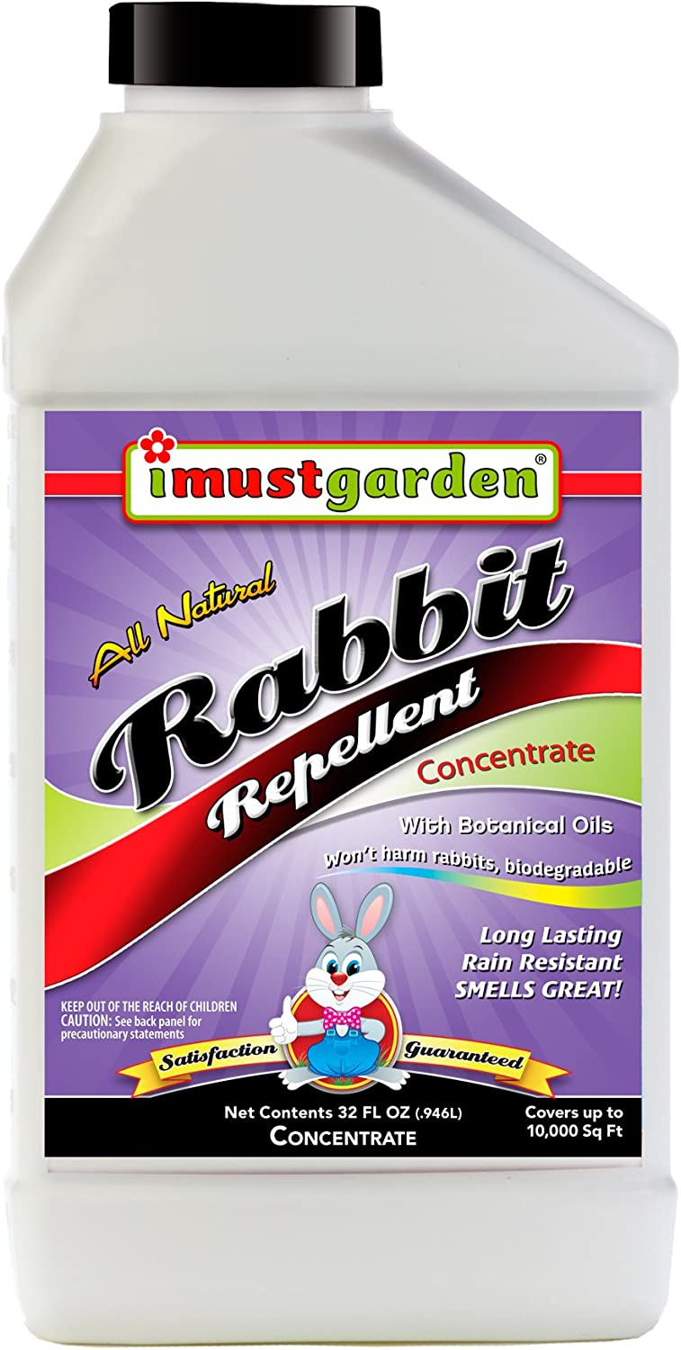 I Must Garden Rabbit Repellent 32oz Concentrate: Mint Scent Rabbit Spray for Gardens, Plants, and Lawns – Natural and Safe - Makes 2.5 Gallons