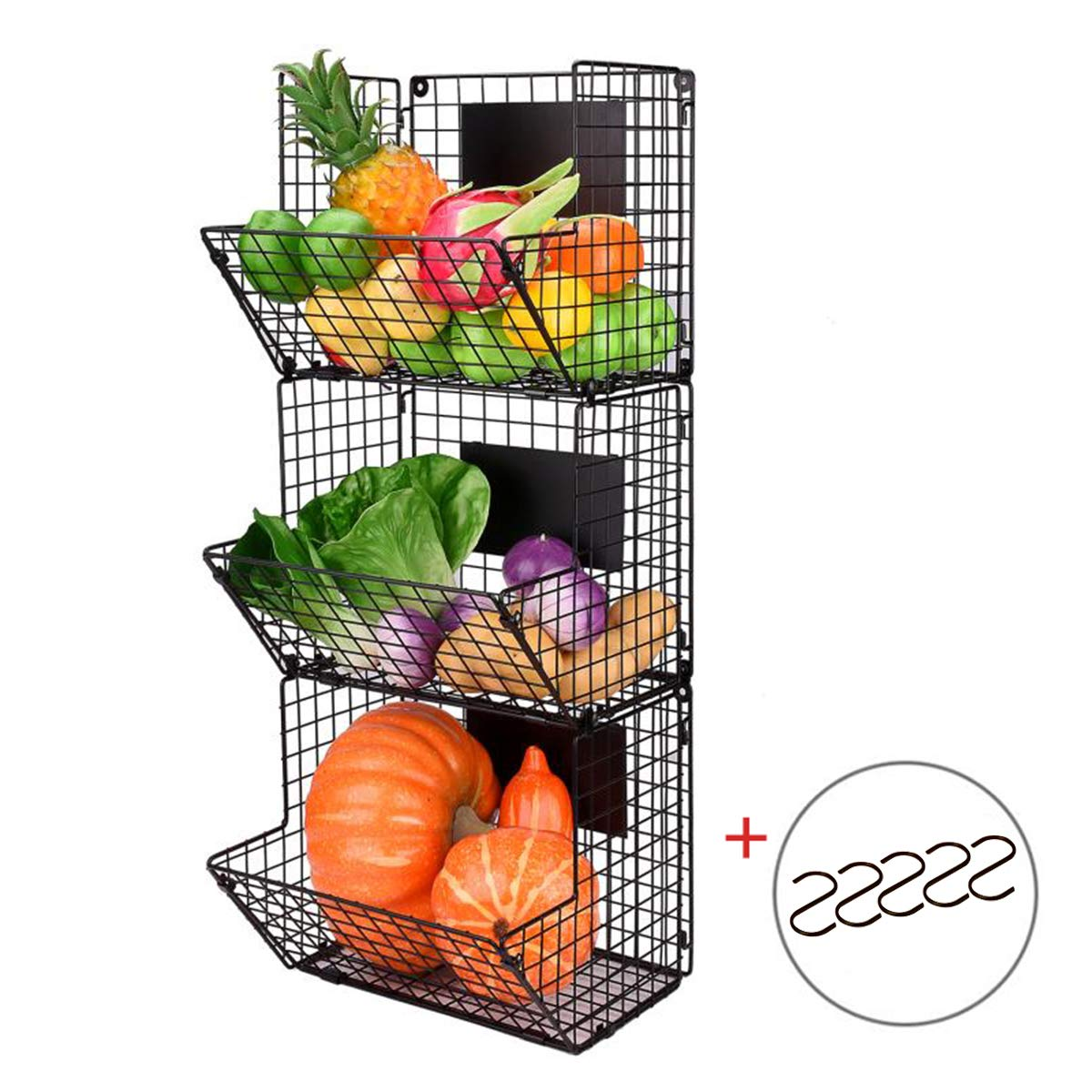 Merya Metal Wire Basket Wall Mount, 3 Tier Wall Storage Basket Organizer with Hanging Hooks Chalkboards, Rustic Kitchen Bin Rack Bathroom Tower Basket