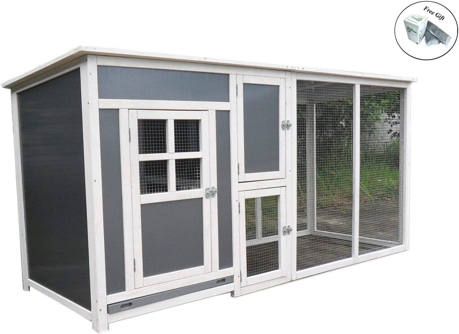 "78/"" Big Wood Frame Plastic Hen Chicken Cage House Coop with Run nesting box"