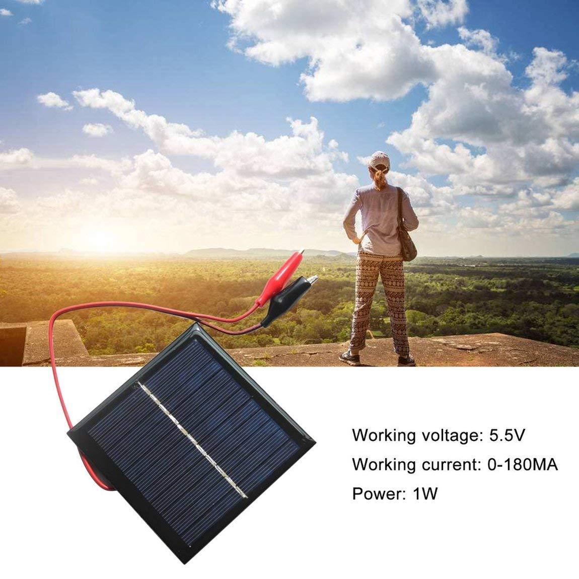 73JohnPol 1W 5.5V Tablero de Carga de Panel Solar de silicio policristalino Cargador de Bricolaje para Carga de bater/ía Recargable de 3.7V con Clip de Tigre y Color: Negro