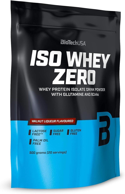 BioTech IsoWhey Zero Proteínas de Suero de Leche, Sabor Nueces Al Ron - 500 gr