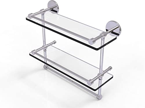 Allied Brass P1000-2TB 16-GAL-PC 16 Inch Gallery Double Towel Bar Glass Shelf, Polished Chrome