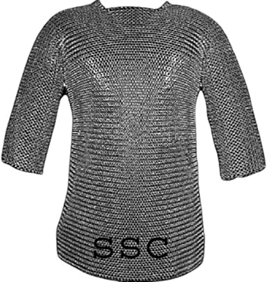 10 MM Round Riveted Chainmail Full Sleeves Chainmail Shirt Reenactment Costume Medieval Chainmail LARP Riveted Chainmail