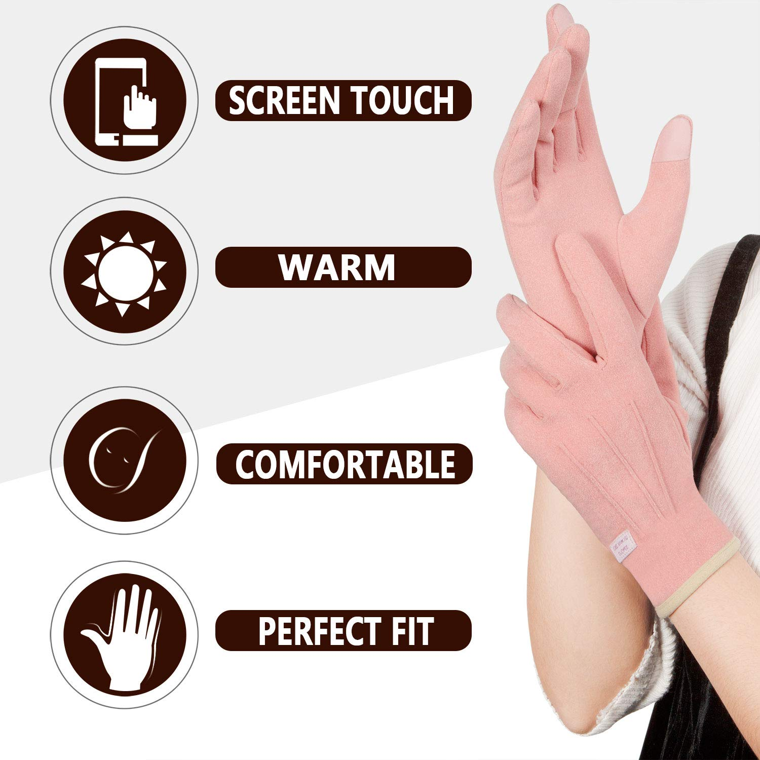 Achiou Women Winter Touchscreen Gloves Thin Soft Comfortable Thermal Elastic Stretch Texting Glove for Traveling Cycling Shopping Running