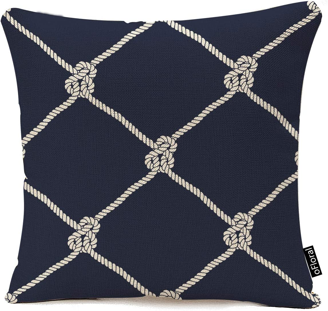 oFloral Decorative Nautical Rope Pattern Cotton Linen Throw Pillow Cover Endless Navy with White Fishing Net and Marine Knots on Dark Blue Trendy Maritime Style Decorative Pillow Case 16x16 Inches