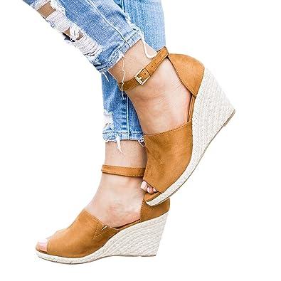 Damen Keilabsatz Schuhe High Heels Ankle Strap Open Peep Toe Sommer Sandalen