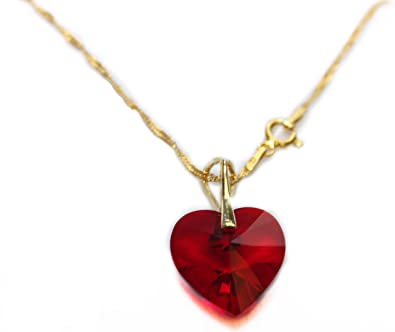 decd32b42 18MM Heart Ruby Red Siam Genuine Crystal From Swarovski® Necklace. Vermeil  Gold Over Sterling