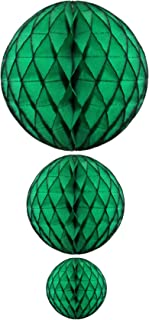 product image for Dark Green Honeycomb Balls, Set of 3 (12 inch, 8 inch, 5 inch)